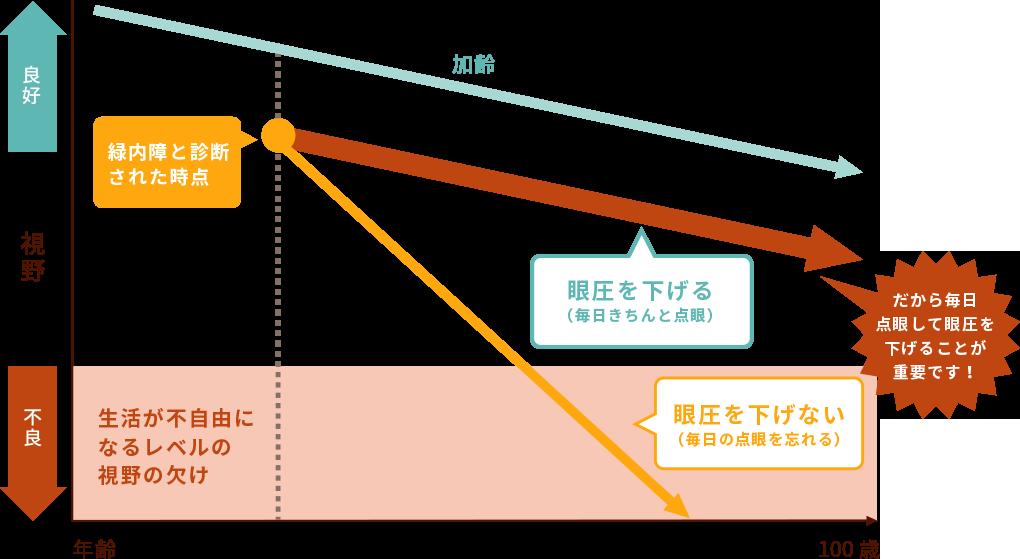 年齢と比例した視野の欠けるスピードグラフ
